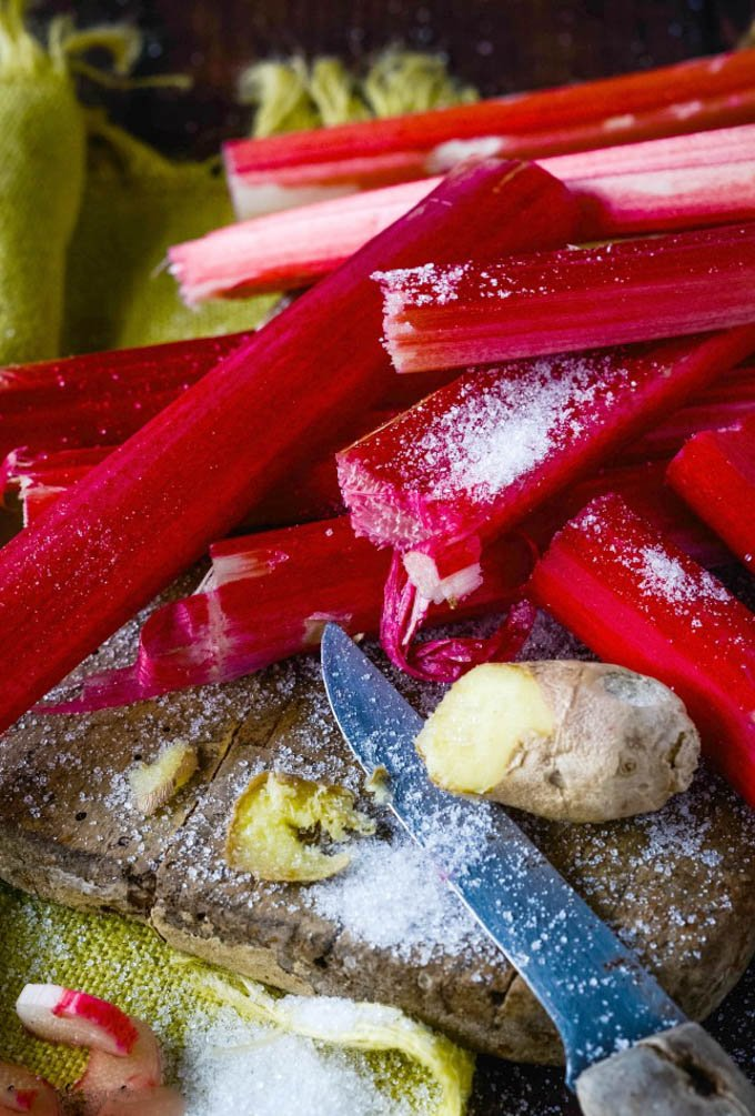 rhubarb and ginger on chopping board