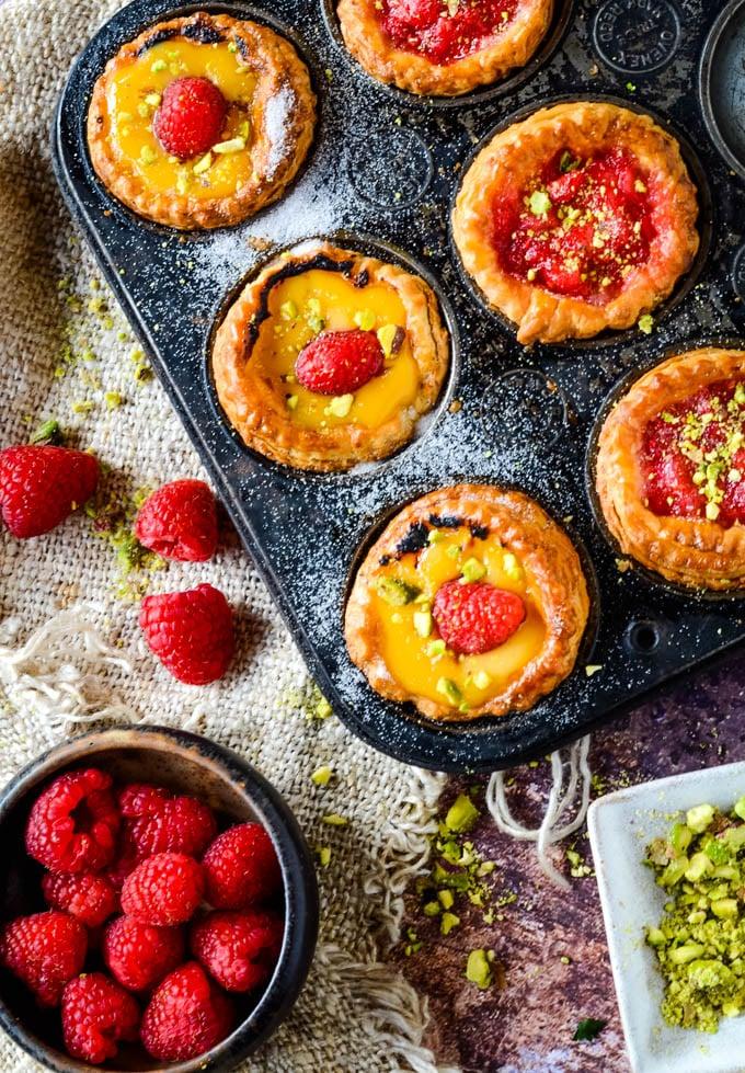 rhubarb and raspberry tarts in baking tin