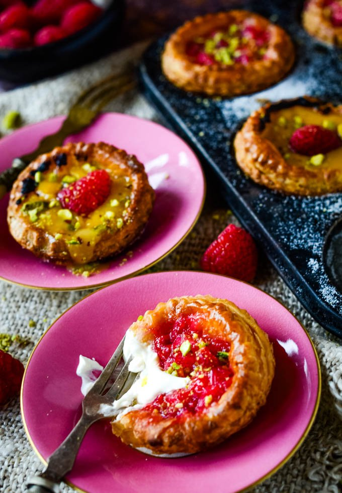 tart with cream on top