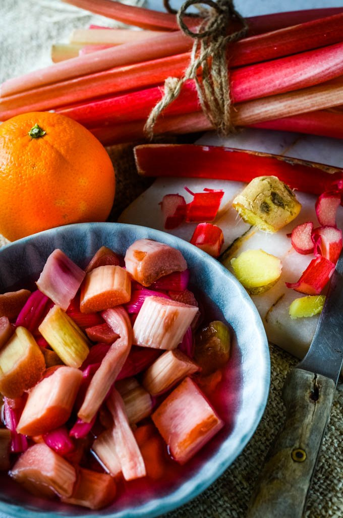 ingredients for rhubarb and ginger gin jam