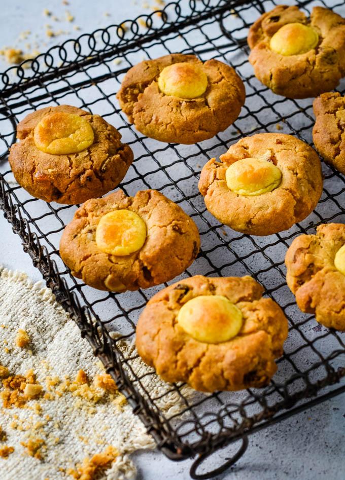 simnel cookies on drying rack
