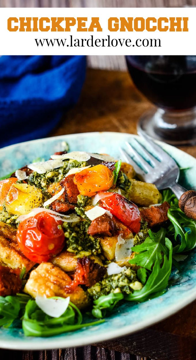 chickpea gnocchi with tomatoes and pesto pin image