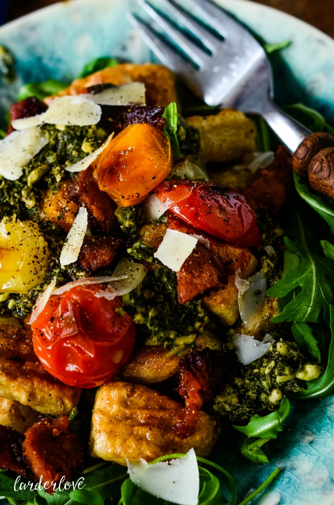 chickpea gnocchi with tomatoes and pesto