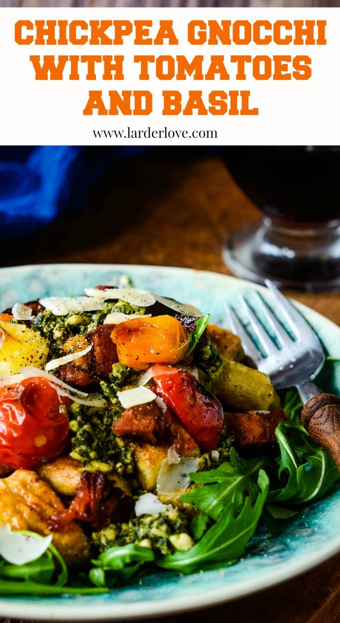 chickpea gnocchi with tomatoes and pesto by larderlove