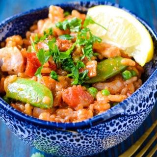 fish and chorizo risotto by larderlove
