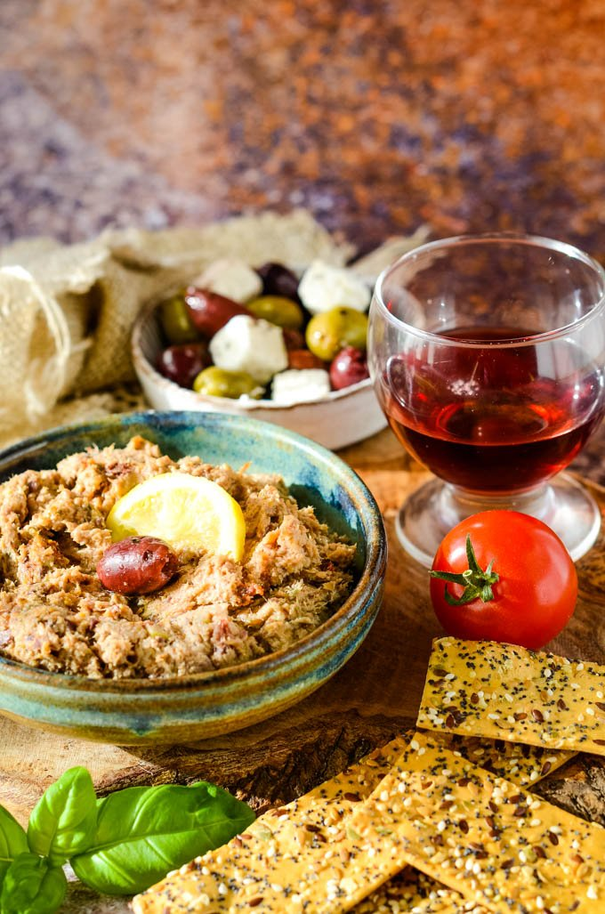 Mediterranean smoked mackerel pate with wine and olives
