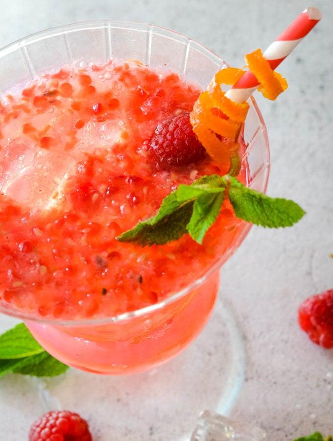 rhubarb ginger raspberry and gin spritz by larderlove