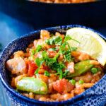 mixed fish and chorizo risotto pin image