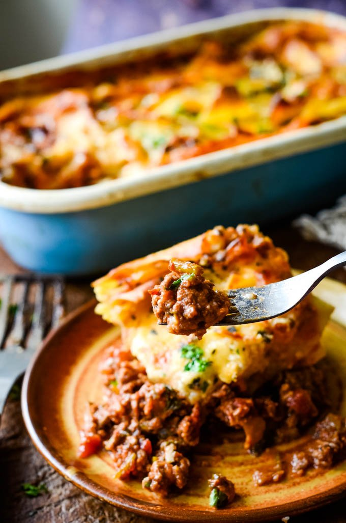 forkful of lasagne