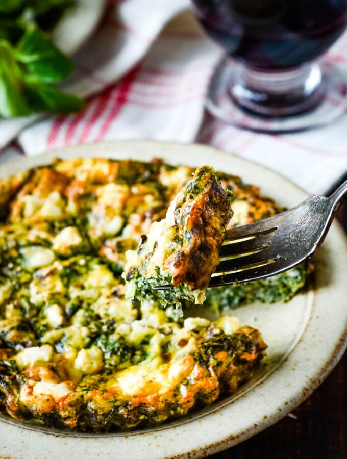 fork with frittata on it