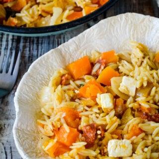 30 minute squash and orzo risotto traybake by larderlove