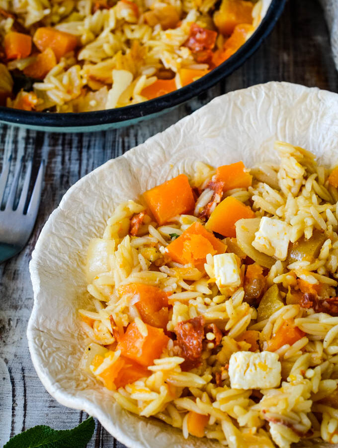 30 minute squash and orzo risotto traybake by larderlove