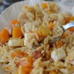30 minute squash and orzo risotto traybake