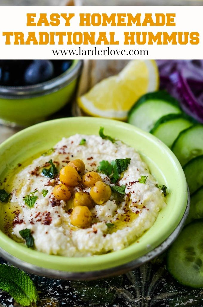 A super easy recipe for homemade traditional hummus plus some great ideas for toppings to serve it