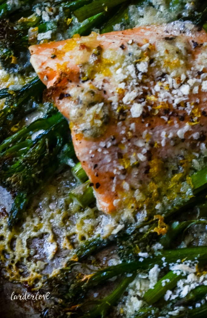 salmon broccolini and asparagus traybake by larderlove