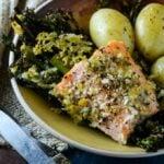 salmon broccolini and asparagus bake by larderlove