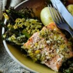 salmon broccolini and asparagus bake by larderlove
