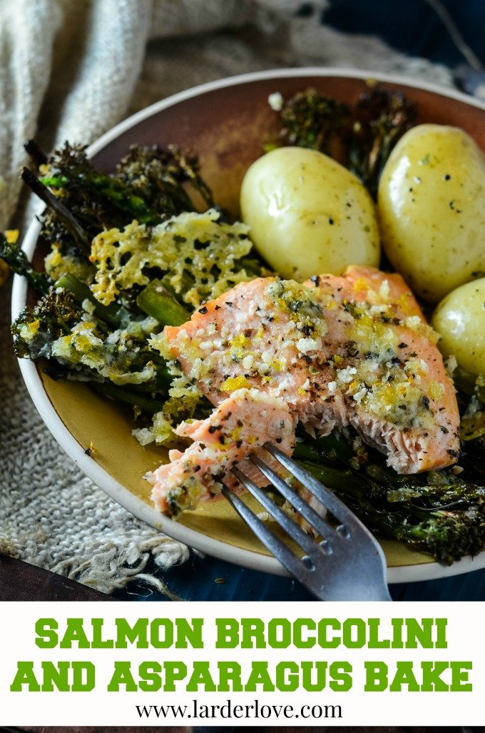 salmon broccolini and asparagus traybake is the perfect weeknight recipe. Quick, easy, tasty and so good for you too.