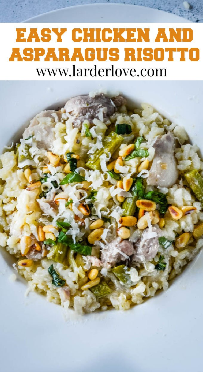 chicken and asparagus risotto pin image