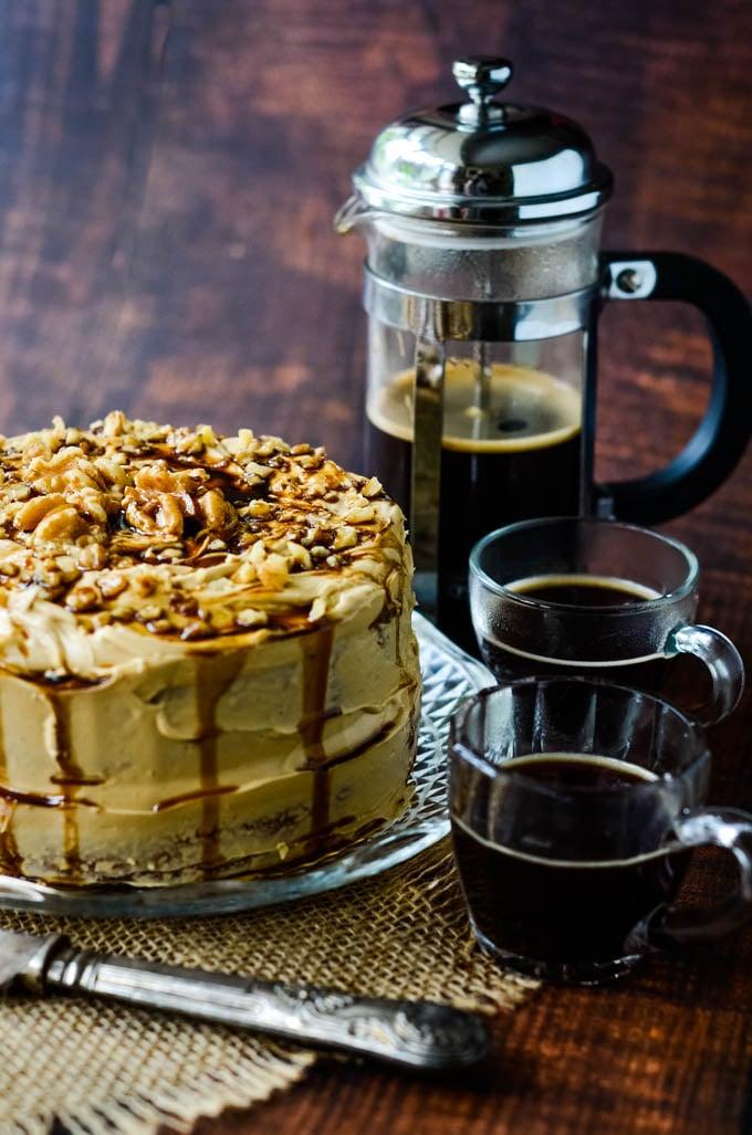 coffee and walnut cake with cardamom
