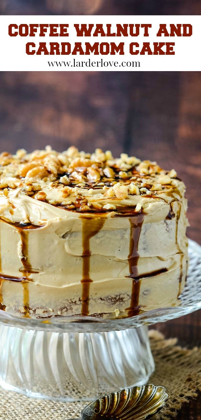 super easy coffee and walnut cake with cardamom recipe. Richly flavoured and luxuriously moist this cake is the perfect dessert for a supper party or the centrepiece for a birthday tea