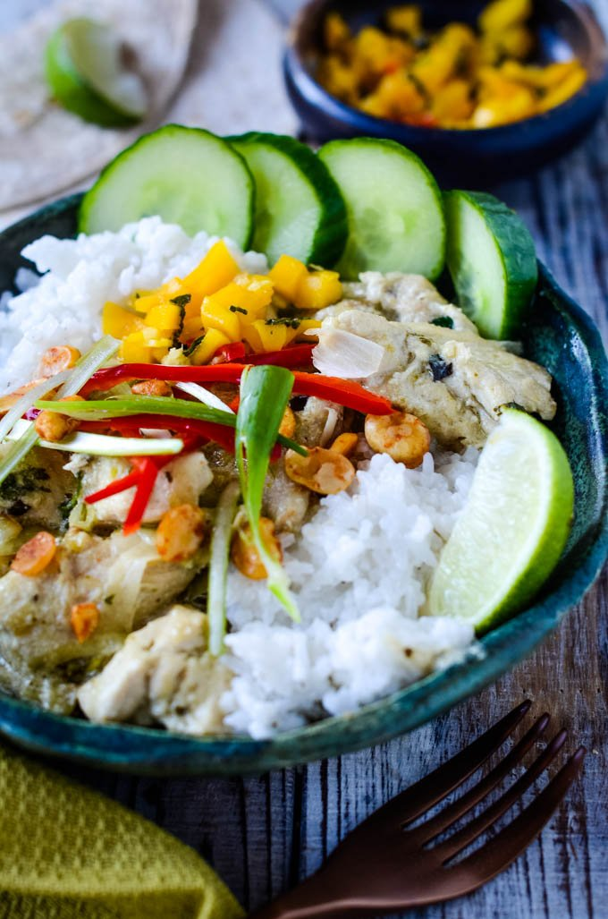 Thai green chicken curry with coconut rice by larderlove