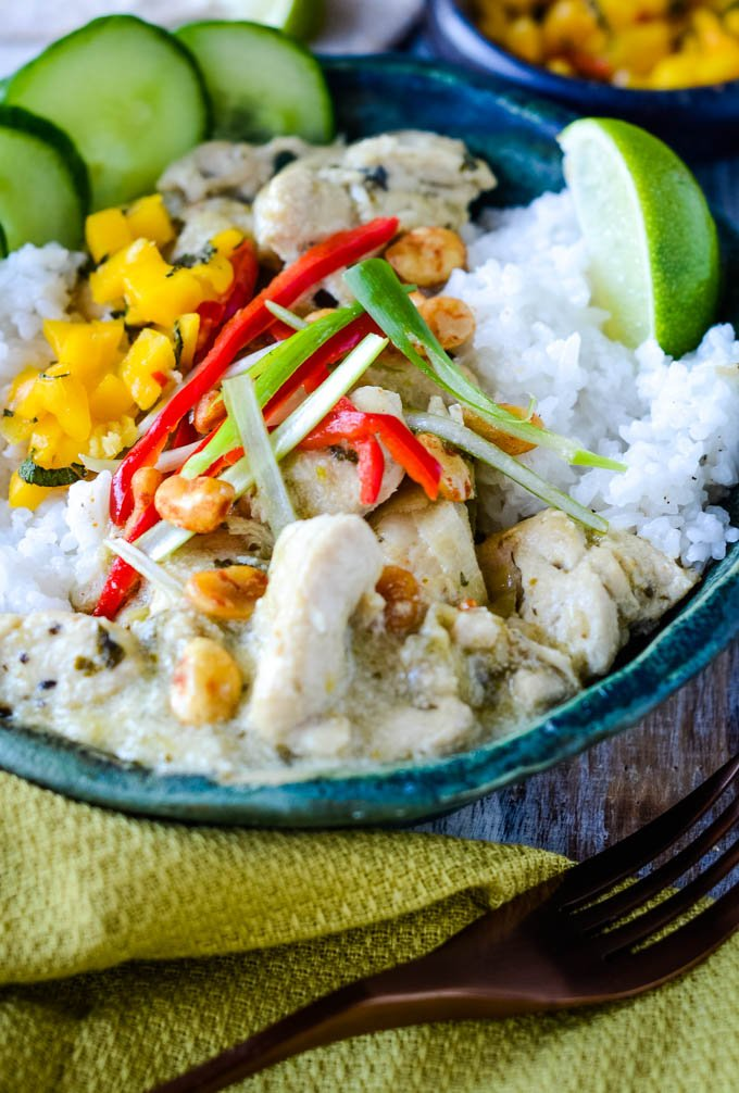 Thai green chicken curry with coconut rice bowl