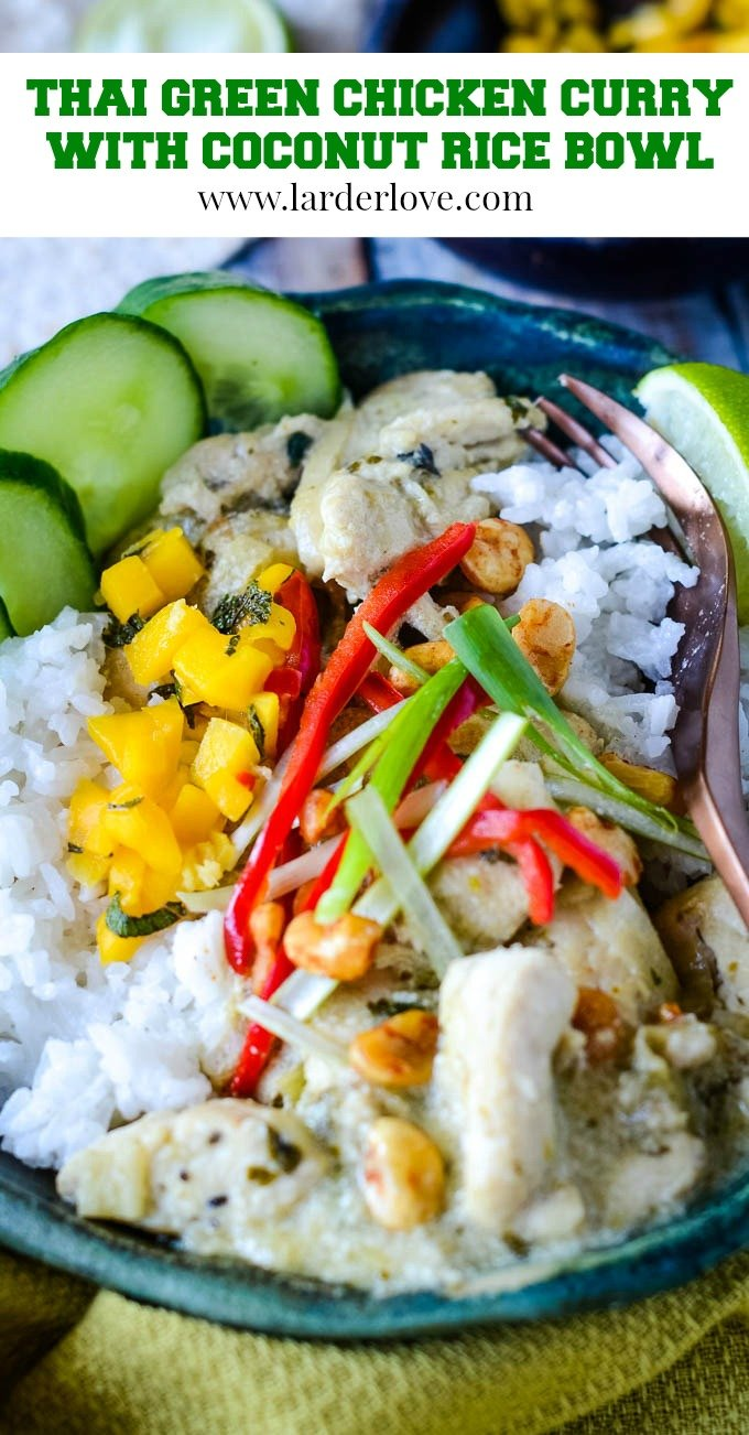 Thai green chicken curry with coconut rice bowl is the perfect curry night treat. Lots of great flavours and textures and amazing taste too. Plus it's easy to make.