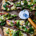 ham and asparagus pizza with honey and brie