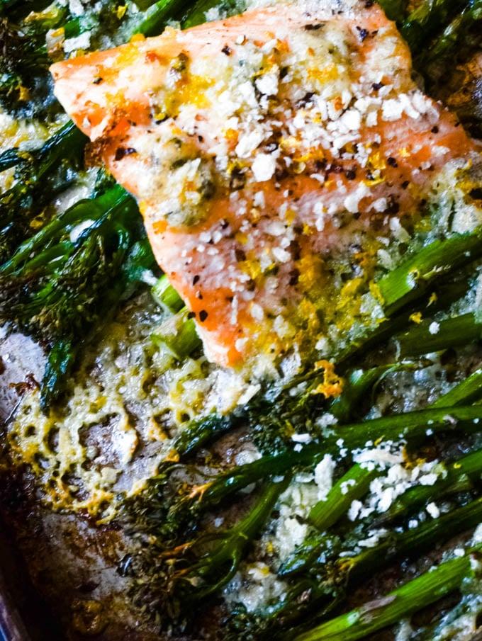 seasoned salmon on oven tray