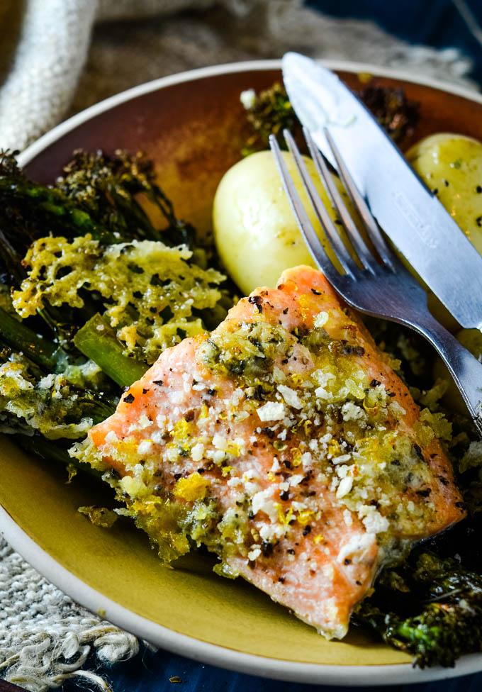 salmon and broccolini traybake on plate