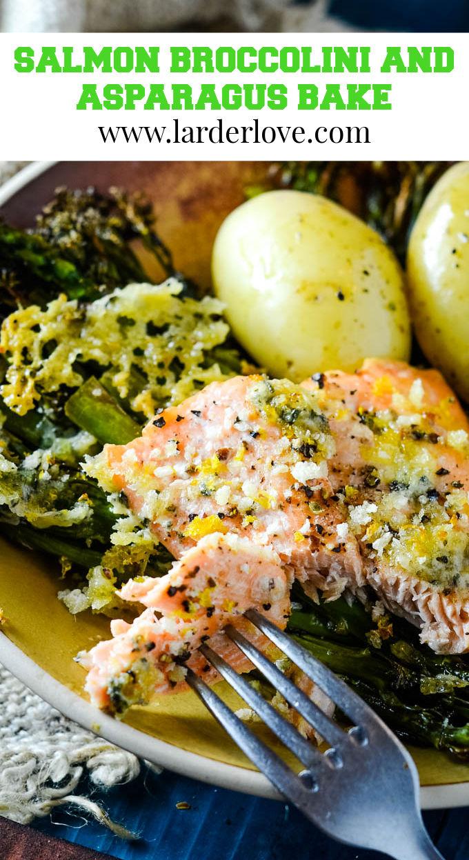 salmon and broccolini traybake pin image
