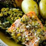 salmon broccolini traybake pin image