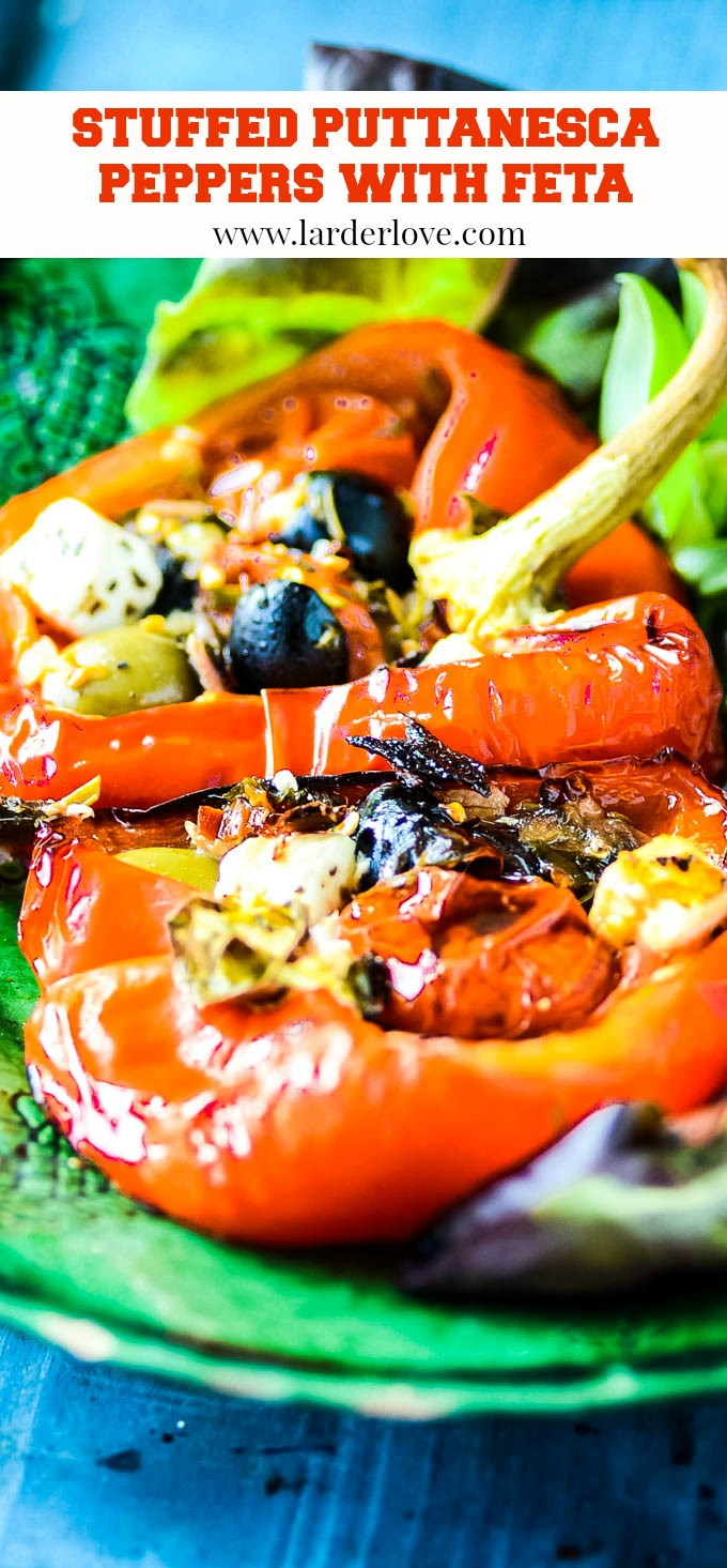 these stuffed peppers puttanesca with feta are super quick and easy to make. Seriously healthy and low carb and perfect for those on the Mediterranean diet
