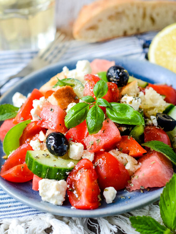 panzanella salad on plate