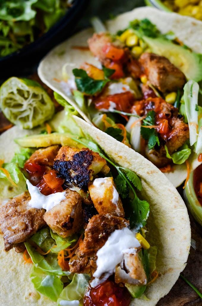 mixed fish tacos by larderlove.com