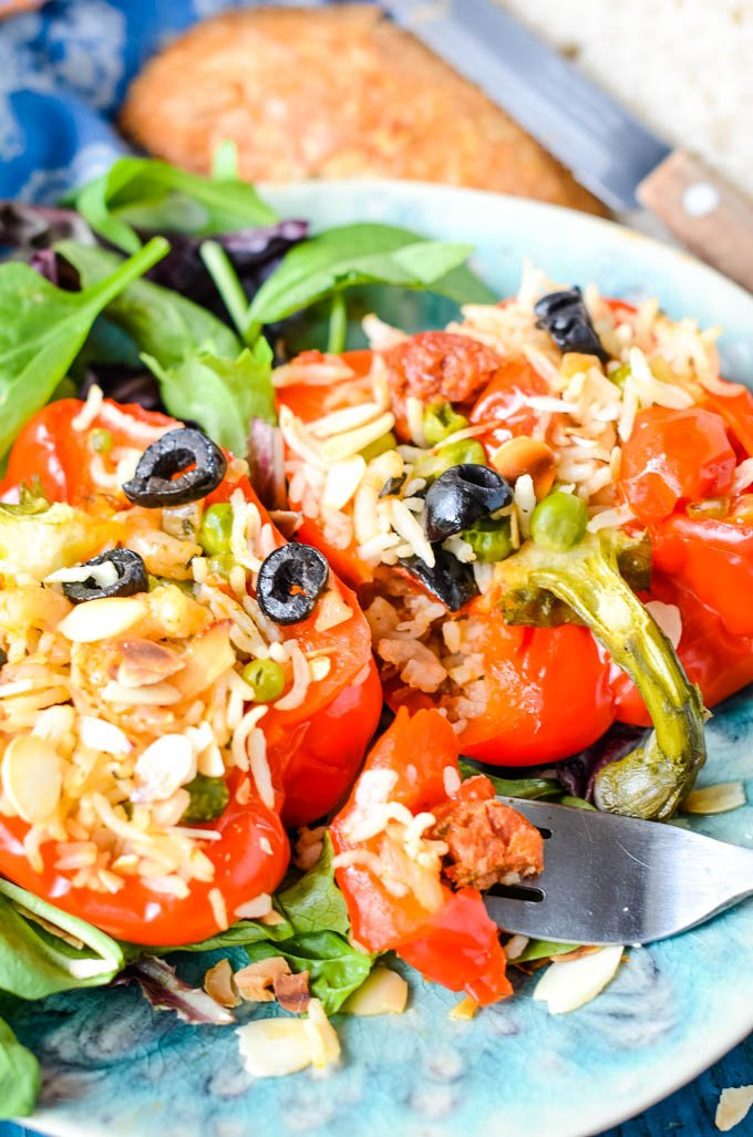 paella style stuffed peppers with feta