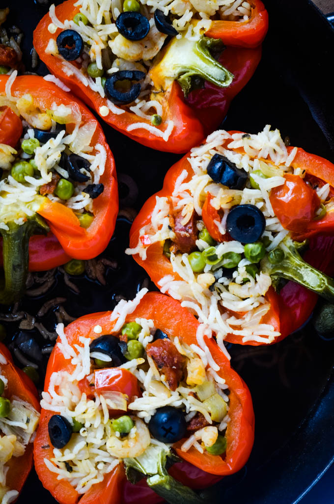 paella stuffed peppers cooking