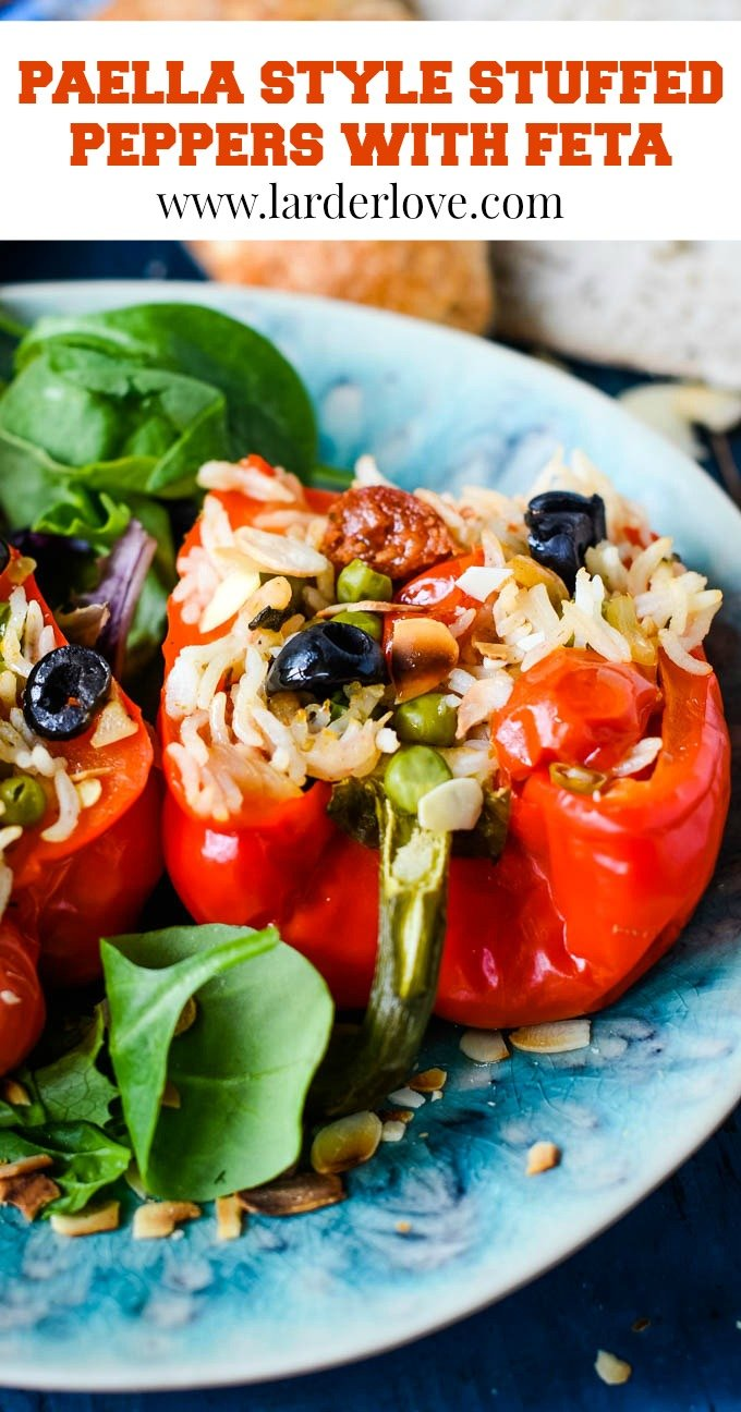 These paella style stuffed peppers with feta make the perfect midweek meal ready in 30 minutes with all the flavours of the mediterranean #stuffed peppers #mediterannean food #paella #larderlove