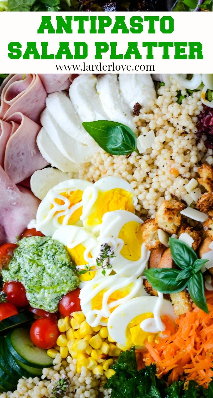 This super easy antipasto salad platter makes the perfect family style sharing salad meal. A great way to use up bits and pieces from the fridge and larder. #antipasto #antipasto salad