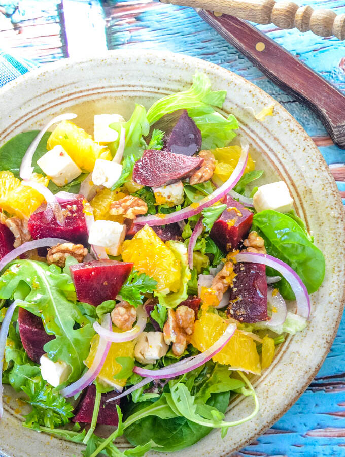 simple beetroot salad with orange and feta
