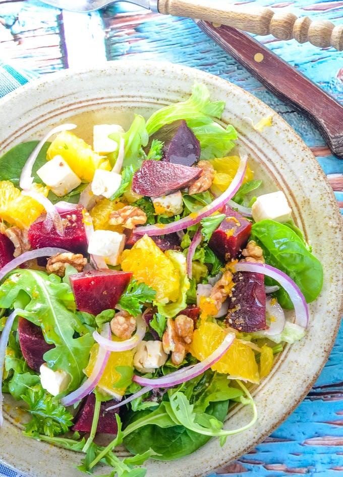 simple beetroot salad with orange and feta