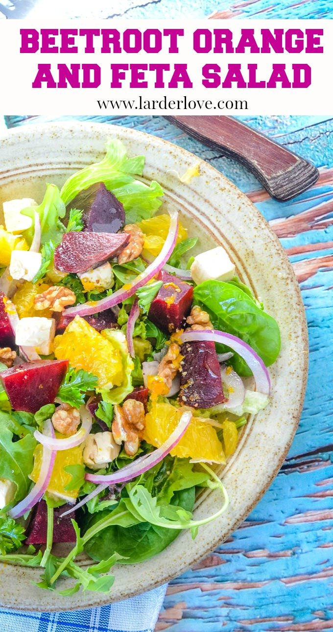 Simple beetroot orange and feta salad recipe pin image
