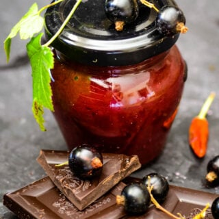 blackcurrant jam with chocolate and chilli