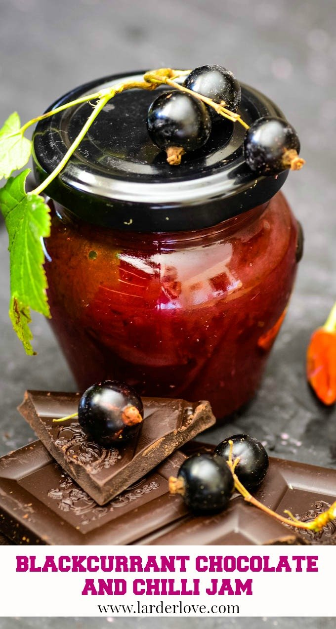 Simple blackcurrant jam with chocolate and chilli recipe pin image