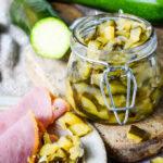 super easy spicy courgette/zucchini chutney jar and ham