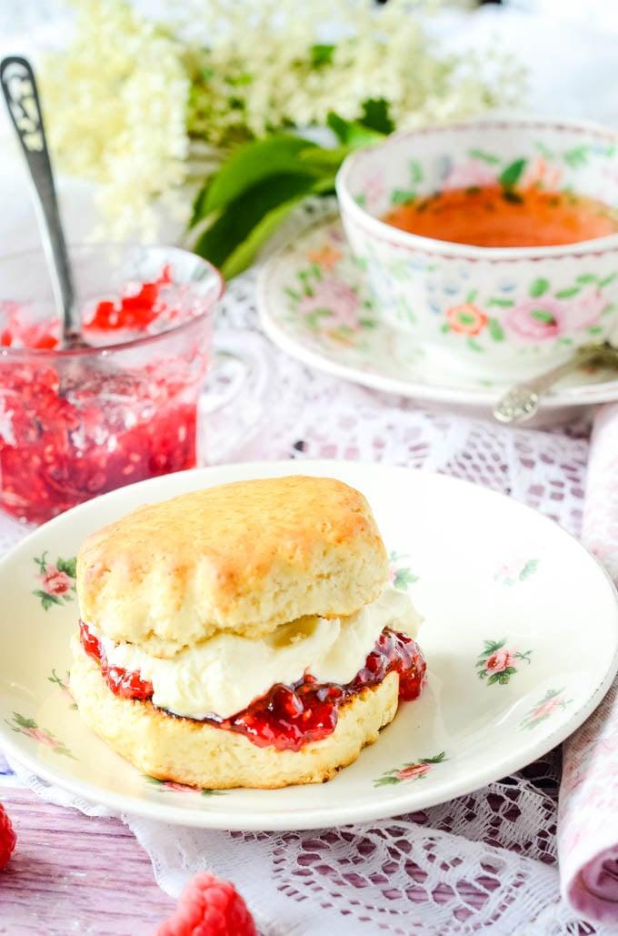 raspberry peach and elderflower jam on a scone