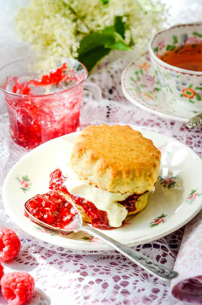 peach melba jam on a scone
