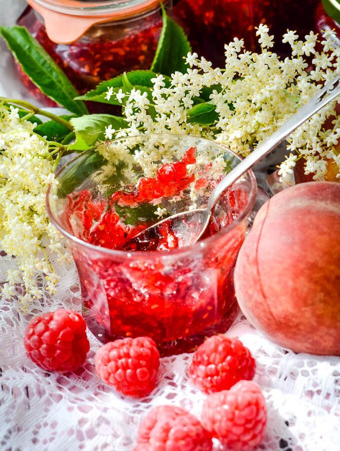raspberry and peach jam