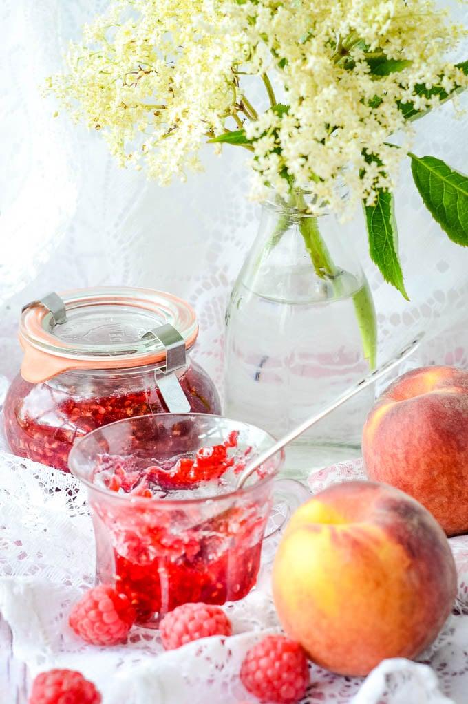 raspberry peach and elderflower jam